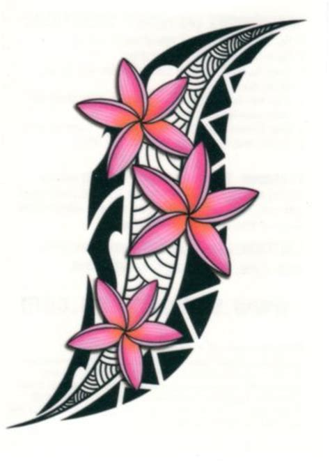 tribal hawaiian flower tattoo tribal tropical pink flowers temporary made in usa