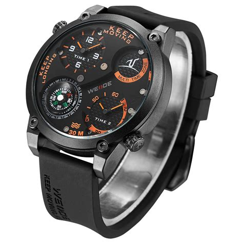 Weide Universe Series Dual Time 30m Water Resistance Limited 1 weide universe series dual time zone compass 30m water resistance uv1505 black orange