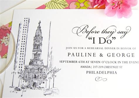 wedding invitations city philadelphia philadelphia city skyline rehearsal dinner