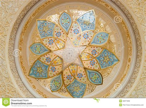 Ornament Chandelier Decoration Of The Sheikh Zayed Grand Mosque Stock Image
