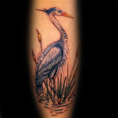 70 heron tattoo designs for men coastal bird ink ideas