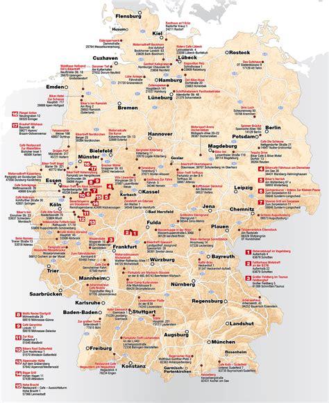 Motorrad Deutschlandkarte by Karte Beliebter Treffpunkte F 252 R Biker In Deutschland