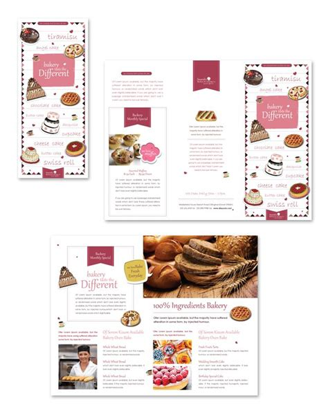 decorative bakery tri fold brochure template identidade