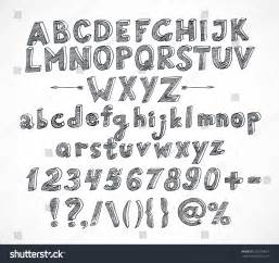 doodle sketch font doodle sketch font isolated on white stock vector