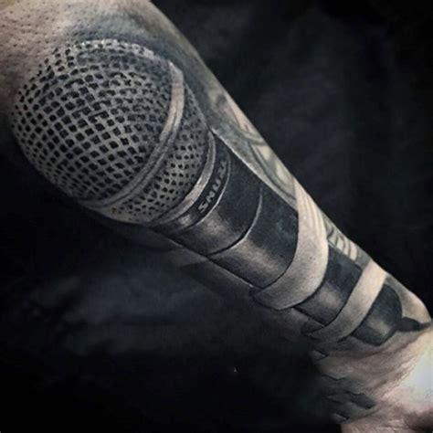 microphone cord tattoo big detailed black and white modern microphone tattoo on