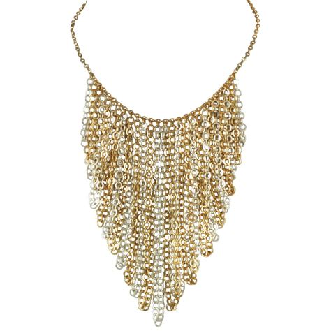 jewelry chains catena gold and silver tone chain statement fashion necklace