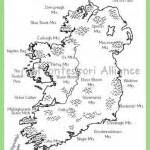 blank map of ireland with rivers and mountains