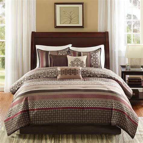 Jcpenney Bedding Beautiful Modern Red Taupe Beige Brown Grey Stripe Cabin