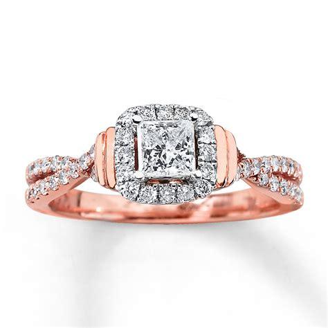 engagement ring 3 4 ct tw princess cut 14k