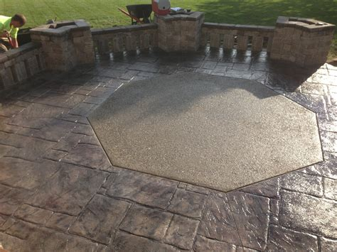 decorative sted concrete patio with exposed aggregate