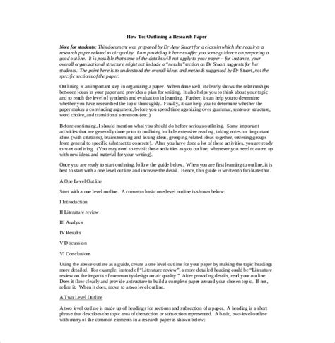 Exles Of Outlining The Research Paper by 8 Research Paper Outline Templates Free Sle Exle