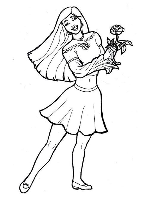 coloring pages flower girl coloring page girl with flower img 7174