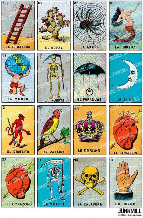 Tarot Card Digital Template by Loteria Digital Printable Collage Sheet Vintage By