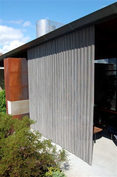 Outdoor Mesh Curtains Outdoor Stainless Steel Curtain Industrial Patio Seattle By Eggleston Farkas Architects