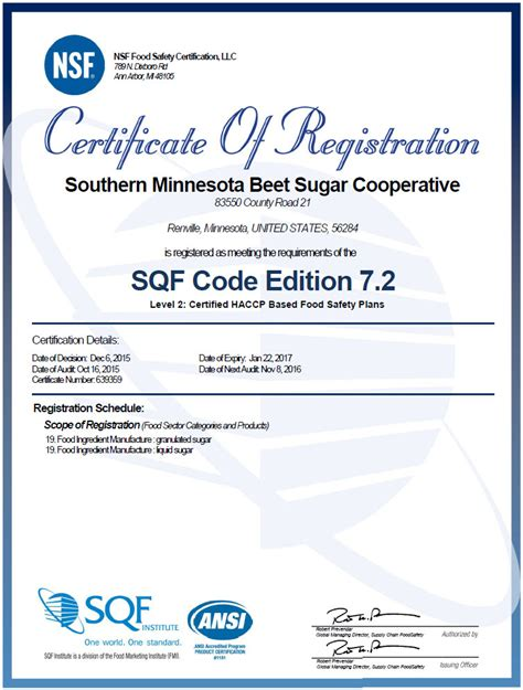 haccp certification letter sqf certified