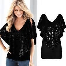 Women sequin sparkle glitter tank top vest t shirt blouses sexy bling
