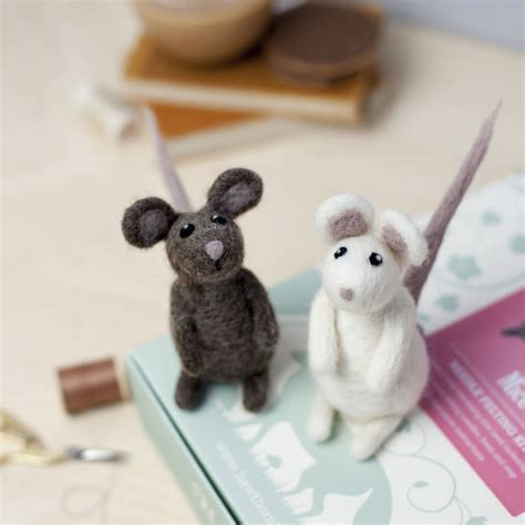 Handmade Mice - mice needle felting craft kit by hawthorn handmade