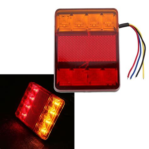 boat trailer tail lights waterproof 8 led red yellow rear tail warning light 12v