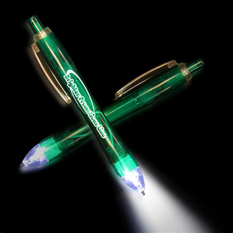 Lighted Pens customized green ultimate lighted led glow pen usimprints