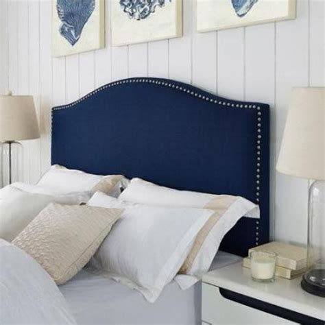 linen headboard queen modern arch upholstered padded navy blue linen fabric
