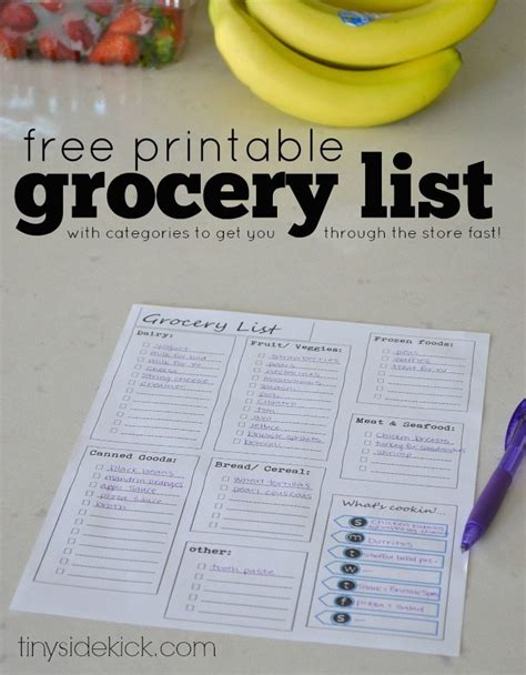 free printable grocery list and meal planner free printable grocery list