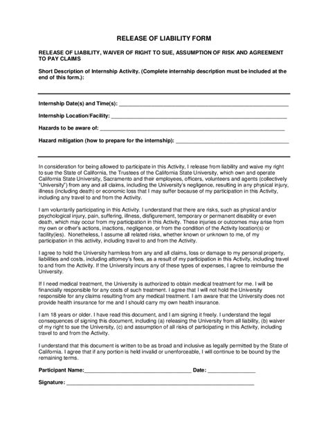 liability release form template liability waiver form form trakore document templates
