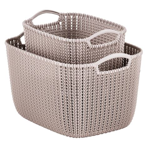 knit basket curver sand knit storage baskets the container store