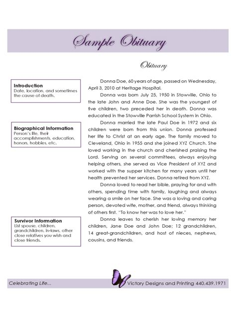 funeral obituary template 5 free templates in pdf word