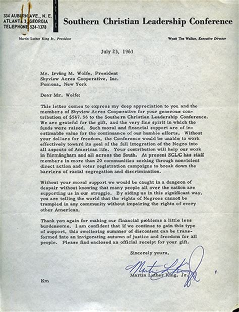 Luther College Letters Of Recommendation Martin Luther King Jr Letter Found By History Students Of Southern Indiana