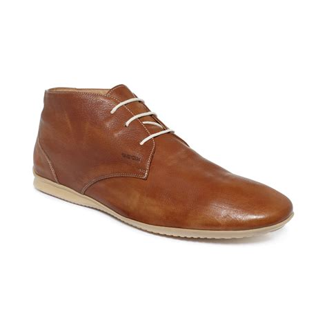 geox gilles leather chukka boots in brown for lyst