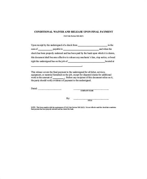 7 Sle Conditional Release Forms Sle Templates Conditional Lien Waiver Template