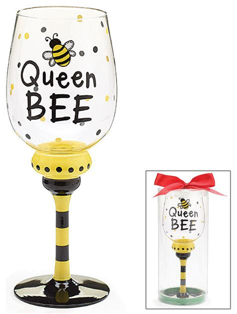 fun barware queen bee wine glass decorative cup cute and fun for any occasion contemporary