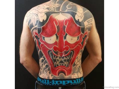 japanese oni tattoo 83 and mysterious mask tattoos on back