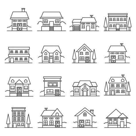 house outline outlined house icons vector free download