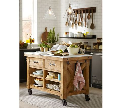 pottery barn kitchen islands hamilton reclaimed wood marble top kitchen island