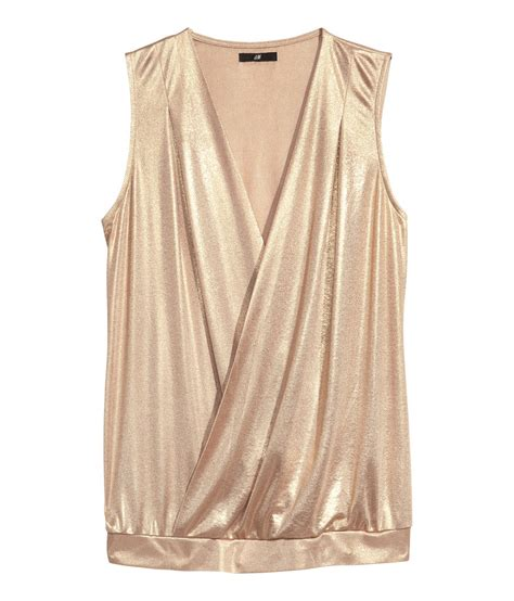 H M Draped Top In Gold Lyst