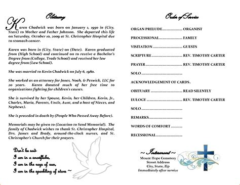 5 Obituary Template Word Teknoswitch Free Downloadable Obituary Program Templates