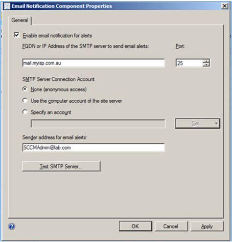 test smtp venu singireddy s using non smtp address in sccm