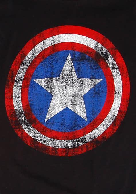 Capt America Logo 1 s captain america distressed logo t shirt