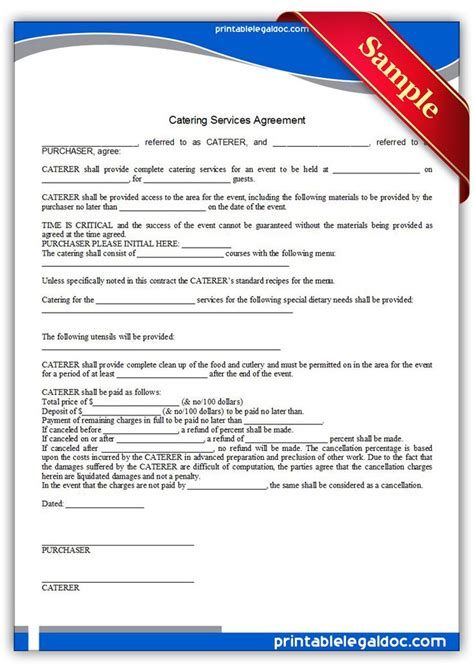 free sle catering contract template free printable catering services agreement sle