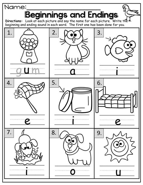 Ending Sounds Worksheets Grade by Ending Sounds Worksheets For Kindergarten Beginning And
