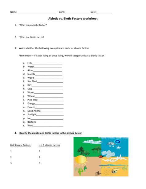 Biotic Abiotic Factors Worksheet by Biotic And Abiotic Factors Worksheet Defendusinbattleblog