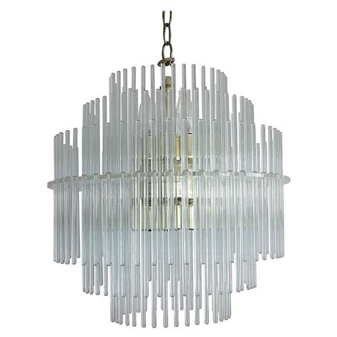 Sciolari Lucite And Glass Rod Chandelier For Lightolier Glass Rod Chandelier