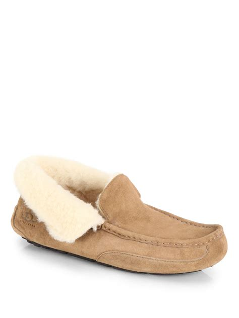 ugg suede slippers ugg grant suede slippers in brown for chestnut lyst