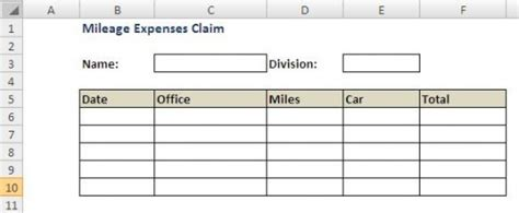 mileage claim template create a mileage claim form in excel hubpages