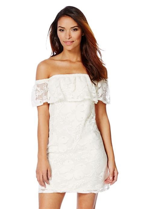 The Shoulder Lace Dress White lace shoulder dress in white get great deals at justfab