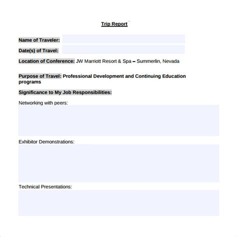 business report template word sle trip report 12 documents in word pdf