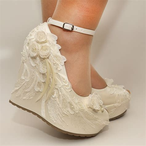 White Lace Wedding Wedges by Ivory Wedges Wedding Wedge Wedges Bridal Wedgesbridal