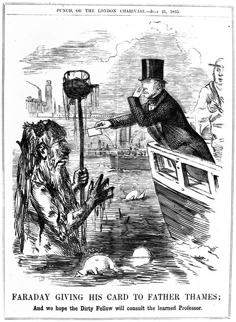 thames river history pollution file caricature faraday giving his card to father thames