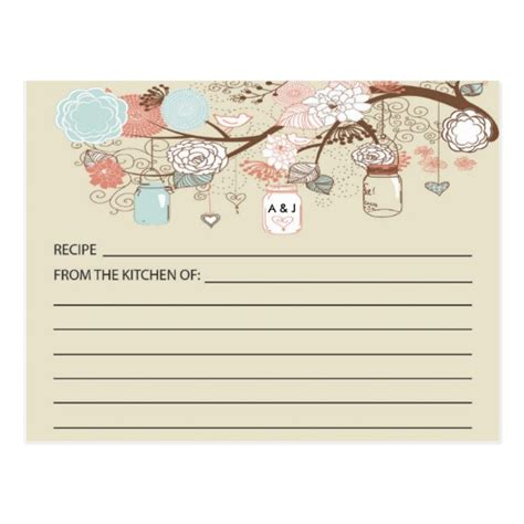 country recipe card templates free rustic country jar recipe cards zazzle